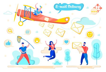 Advertising Flyer E-mail Delivery Cartoon Flat. Man Flies on Retro Plane. People Rejoice Letters Flying From Plane. Guy Catches Letters Net. Modern Delivery Correspondence. Vector Illustration. Иллюстрация