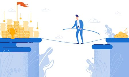 Man Goes on Tightrope View in front Coin. From Poverty to Wealth. Achive Goal. Vector Illustration. Way to Victory. Financial Stability. Business Plan. Cash Savings. Save Money. Risk and Victory.