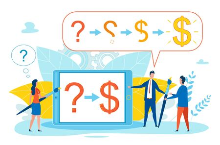Prompting Poster Definition Profitable Formula. Flat Banner Electronic Device, Question Mark and Dollar Symbol. Woman Solves Problem by Counting Result on Tablet. Vector Illustration.