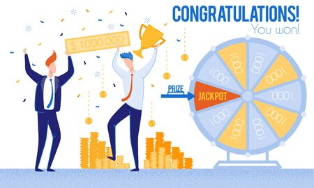 Men Congratulations Winning Lottery Priz Jackpot. From Poverty to Wealth. Achive Goal. Vector Illustration. Way to Victory. Bank Money System. Celebrate Winning. Lottery Earnings. Happy Life.