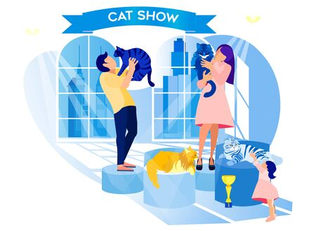 Exhibition Cat. Man and Woman Hold Animals in Hands. Compositions Exhibition Center. Visit Exhibition. Modern Art. Vector Illustration. Pastel Interior in Hall Gallary. Cat Show. Animal in Hand People Stock Illustratie