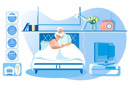 Technology Orthopedic Mattress. New Collection. Healthy Sleep. Health Care. Vector Illustration. Modern Technologies. Home Interior. Sleep on Bed. Mature Man and Woman Lie in Bed at Home.