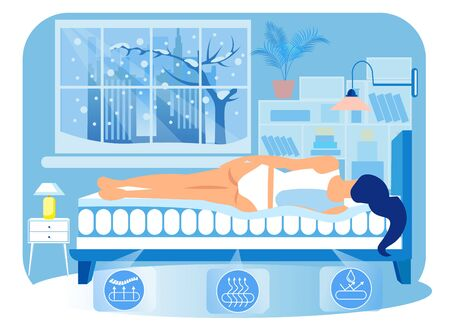 Woman Lying on Side on Orthopedic Mattress in Home Interior. Technology Orthopedic Mattress. Healthy Sleep. Vector Illustration. Modern Technologies. Home Interior. Anatomical Design. Sleep on Bed.