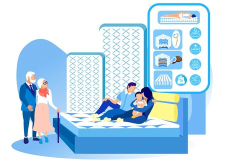 Family Testing Mattress in Salon Mattres. New Collection. Healthy Sleep. Health Care. Vector Illustration. Modern Technologies. Exhibition Center. Anatomical Design. Sleep on Bed. Hight Quality.
