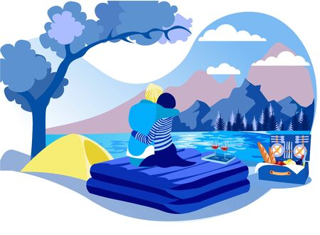 Man and Woman on Picnic Mattress by Lake. Technology Orthopedic Mattress. Mattress from Natural Materials. Vector Illustration. Modern Technologies. Inflatable Mattress for Outdoor Recreation.