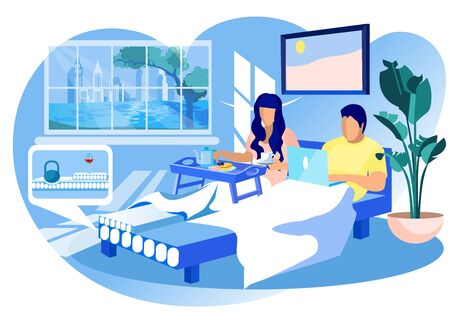 Woman has Breakfast and Man with Laptop on Orthopedic Mattress in Home Interior. Technology Orthopedic Mattress. Natural Materials. Vector Illustration. Modern Technologies. Sleep on Bed.