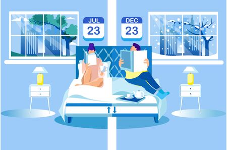Woman and Man Read Books on Orthopedic Mattress. Technology Orthopedic Mattress. Healthy Sleep. Health Care. Vector Illustration. Modern Technologies. Home Interior. Anatomical Design. Lie on Bed. 일러스트