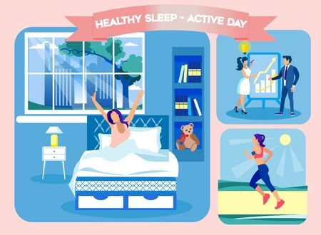 Healty Sleep Active Day. Woman Woke Up on Comfortable Bed. Technology Orthopedic Mattress. Mattress from Natural Materials. Health Care. Vector Illustration. Modern Technologies. Sleep on Bed.