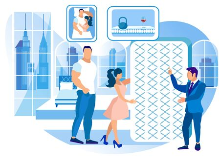 Seller Tells Man and Woman about Mattress. Technology Orthopedic Mattress. Mattress from Natural Materials. Sallon Martas. New Collection. Exhibition Center. Vector Illustration. Modern Technologies.