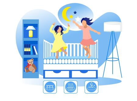 Children Jump on Mattress in Crib. Children Room. Technology Orthopedic Mattress. Mattress from Natural Materials. Health Care. Vector Illustration. Modern Technologies. Home Interior. High Quality.