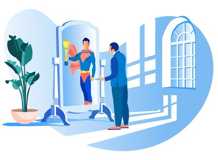 Man in Suit Sees Superhero Reflected in Mirror. Achive Goal. Competition in Business. Confident Successful Businessman. Vector Illustration. Receive Reward. Reach Top. Go to Success.
