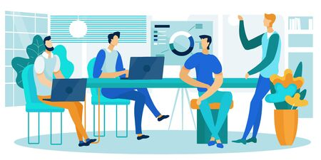 Company Teamwork Collaboration of People Working Together in Office. Business Process Workflow Management, Data Analysis Chart. Businesspeople Development Reach Target Cartoon Flat Vector Illustration