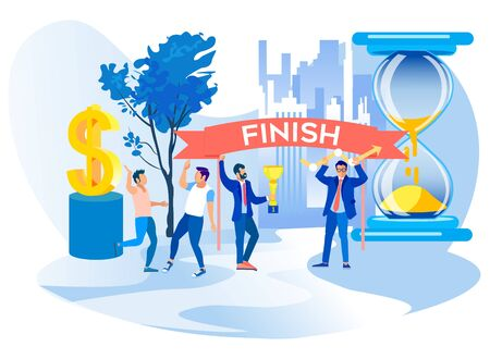 Men Celebrate Finish Successful Project. Overcome Obstacles. Competition in Business. Successful Businessman. Man Rejoice Business Success. Bearded Guy Holds Winner Cup on Hourglass Background