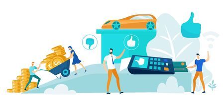 Financial Transaction Flat Cartoon Vector Illustration. Small People Collecting Money and Doing Purchase Using Payment Terminal and Credit Card. Buying Car Using Banking. Piles of Money. 일러스트