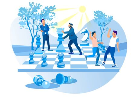 Men Play Big Chess in Background City Park. Chess Pieces. Achive Goal. Overcome Obstacles. Successful Businessman. Vector Illustration. Receive Reward. Reach Top. Competitive Process.