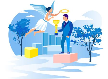 Man with Cup on Pedestal and Girl Angel. Achive Goal. Overcome Obstacles. Competition in Business. Successful Businessman. Employee of Year. Vector Illustration. Reach Top. Award Process.