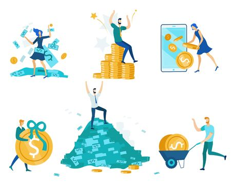People and Money Set Isolated on White Background. Happy Man and Woman Characters Earning, Collecting Coins and Bills. Wealth, Richness, Fortune. People Getting Cash Cartoon Flat Vector Illustration
