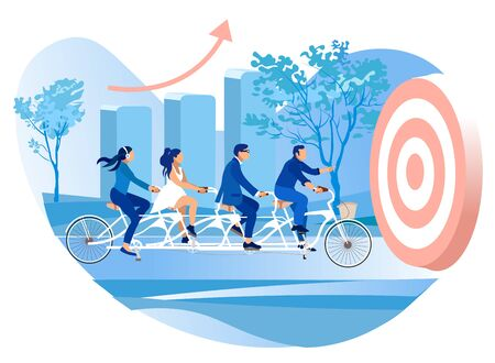 Team People Riding Multi-Seat Bike. Teamwork. Achive Goal. Competition in Business. Successful Businessman. teamwork company employees. group people riding bike to financial success 일러스트