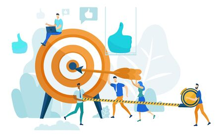 People Run to Goal Cartoon Flat Vector Illustration. Businessman Instructing Workers. Achieving Success. Leadership Practicing Skills in Team. Teamwork in Business. Hitting Target.