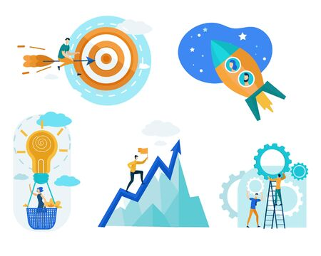 Growing Business Concept Flat Cartoon Vector Illustration. Business People Working in Team to Achieve Success. Woman in Balloon in Form Bulb Generating Ideas. Man Climbing Mountain. Rocket Travel.