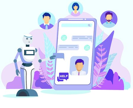 Cartoon AI Robot Help Customer Chatbot on Mobile Phone Screen Vector Illustration. Bot Assistant Chat, Android Assistance. Virtual Consultant. Tech Support Service. Future Technology 일러스트