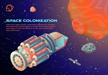 Banner Inscription Space Colonization Cartoon. Organization Colony Perspective. Space Ship Flying Towards Mars. Testing Ground for Large-scale Scientific Experiments. Vector Illustration.