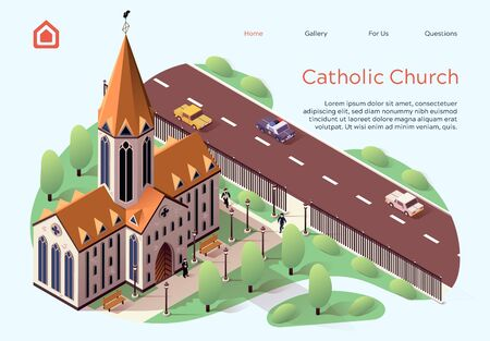 Flat Banner Catholic Church Lettering Cartoon. Religious Building for Ceremonies within City. High-rise Building Church for Catholics.  Territory Church is Fenced. Vector Illustration.