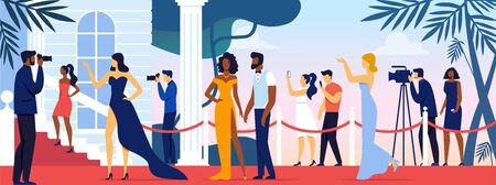 Celebrities Walking along Red Carpet, Posing to Paparazzi and Fan Photographing on Camera and Smartphones. Movie Festival, Party for Famous People, Fashion Stars Show Cartoon Flat Vector Illustration. 일러스트