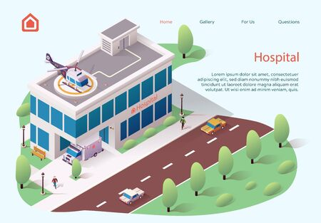Advertising Flyer is Written Police Cartoon Flat. Top View New Modern Building Medical Facility. Helicopter Pad on Roof Hospital. Ambulance Car at Hospital. Vector Illustration Isometric. 일러스트
