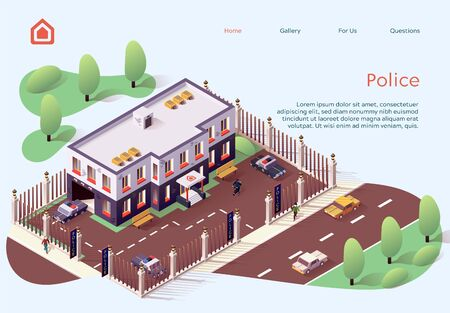 Information Poster Inscription Police Cartoon Flat. Layout City Building Owned by Police. Fenced Area Around Police Knowledge. Top View Street Modern City. Vector Illustration Isometric. 일러스트