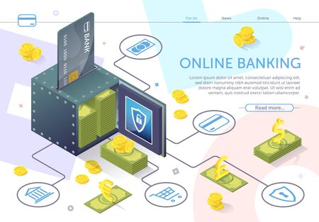 Open Safe with Stack Banknotes. Online Banking. Financial Services. Use Mobile Banking Application. Internet Service Modern Bank Technology. Perform Transaction. Banknote and Coin. Vector Illustration