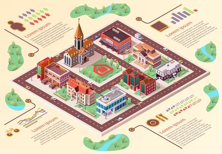Flat Banner Big City Layout Infographics Cartoon. An Architectural Project And Top View Area City With Located Buildings. Developed Infrastructure Big City. Vector Illustration Isometric.