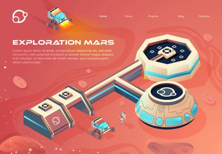 Banner Space Colonization Infographics Cartoon. Scheme Colonization Red Planet. Modern Interplanetary Transport System. Buildings for  Development Uninhabited Planet. Vector Illustration.