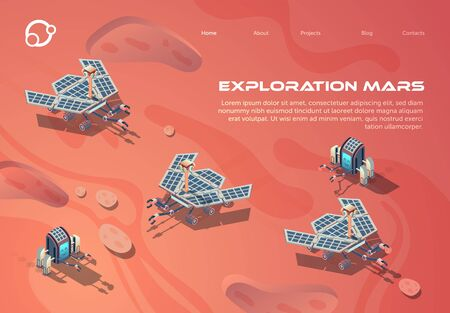 Informative Poster is Written Exploration Mars. Robotization for Soil Research and Technical Experimentation. High Degree Autonomy and Organization Scientific Research Landing Page.
