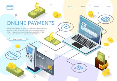 Bank Card at ATM. Online Payment System. Online Banking. E-Banking System. Financial Services. Use Mobile Banking Application. Perform Transaction. Bills Banknote and Coin. Vector Illustration.