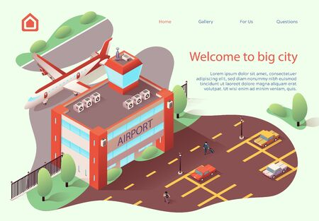Flyer Inscription Welcome to Big City Cartoon. Practical Layout  Airport and Terminal for Passengers in Territory Large City. Modern Minimalist Building. Vector Illustration Isometric. 일러스트