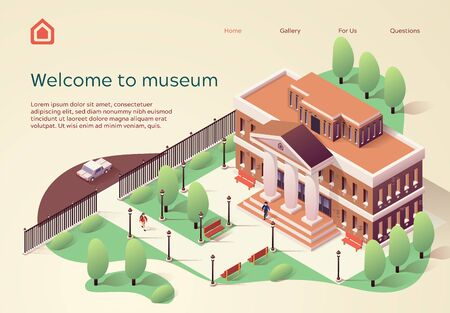 Invitation Poster Inscription Welcome to Museum. Beautiful Building with Columns in Antique Style Belongs to Museum. Territory Building is Ennobled by Plants. Vector Illustration Isometric.
