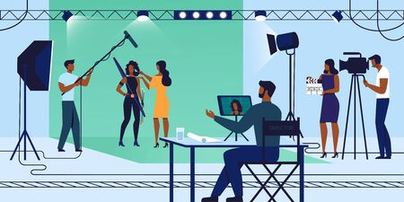 Movie Industry, Young Actress Woman in Fantasy Costume Stand on Chromakey Background with Makeup Artist Girl, Film Recording Process, Crew with Camera and Microphone. Cartoon Flat Vector Illustration
