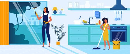 Happy Family Mother and Little Daughter Cleaning Home on Weekend. Mom Washing Window, Girl Mopping Floor on Kitchen. Togetherness, Activity, House Interior, Relations Cartoon Flat Vector Illustration.
