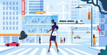 Junge entzückende Frau in modischem Kleid zu Fuß entlang des Zebrastreifens in der großen belebten Metropole, Mädchen-Stadtbewohner-Lebensstil, Eile bei der Arbeit oder Wochenend-Freizeit, Verkehr. Cartoon-flache Vektor-Illustration. Vektorgrafik