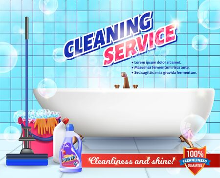 Cleaning Service. Means for Cleaning Apartment. Clean House. Set Cleaning Tools. Vector Illustration. Cleaning Realistic. Shining Surface. Mop and Bucket. Detergent on Background Bathroom.