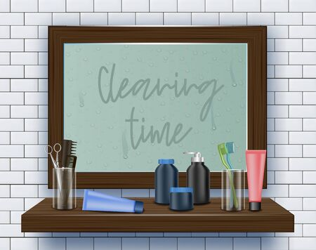 Dirty Mirror on Bathroom Wall. Cleaning Time. Means for Cleaning Apartment. Clean House. Vector Illustration. Cleaning Realistic. Dirty Surface. Modern Cleaning Product. Toiletries on Shelf. 일러스트