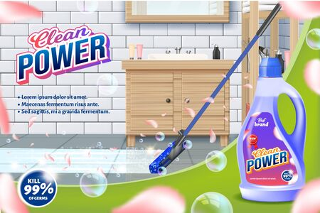 Bottle Clean Power. Mop Washes Bathroom Floor. Detergent for Home. Cleaning Service. Vector Illustration. Cleaning Realistic. Shining Surface. Household Chemical. Modern Cleaning Product. Aroma Purity