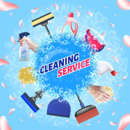Detergent for Home. Logo Cleaning Service. Means for Cleaning Apartment. Bast in Hand. Clean House. Set Cleaning Tools. Vector Illustration. Cleaning Realistic. Household Chemicals. Foam and Petals. Illusztráció