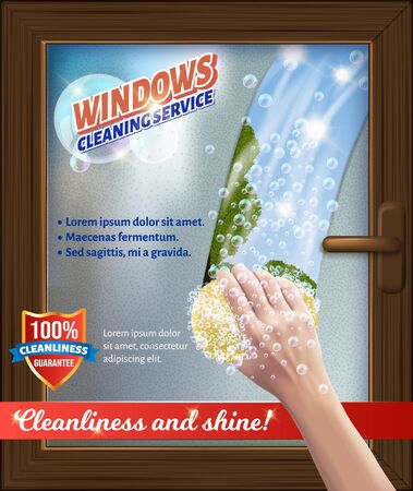Windows Clean Service. Bast in Hand. Wash Window. Detergent for Home. Cleaning Service. Vector Illustration. Cleaning Realistic. Shining Surface. Cleanliness and Shine. Modern Cleaning Product.