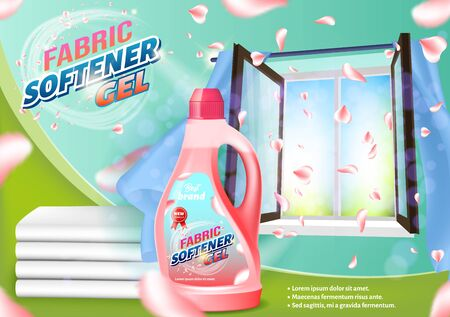 Fabric Softener Gel. Pink Liquid Bottle on Open Window Background. Detergent for Home. Vector Illustration. Cleaning Realistic. Household Chemicals. Modern Cleaning Product. Clean Laundry.