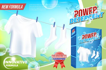 Wash Clothes. Detergent for Home. Cleaning Service. Vector Illustration. Cleaning Realistic. Shining White. Household Chemicals. Modern Cleaning Product. Innovation Formula. Powder Detergent.