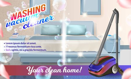 Washing Vacuum Cleaner on Background Bed in Bedroom. Detergent for Home. Cleaning Service. Set Cleaning Tools. Vector Illustration. Cleaning Realistic. Shining Surface. Cleaning Product. Clean Home.
