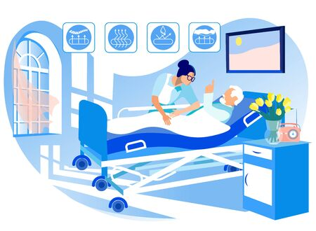Orthopedic Mattress for Medical Bed. Nurse and Sick Man. Mattress from Natural Materials. Health Care. Vector Illustration. Modern Technologies. Hospital Interior. Anatomical Design. Lie on Bed. 일러스트