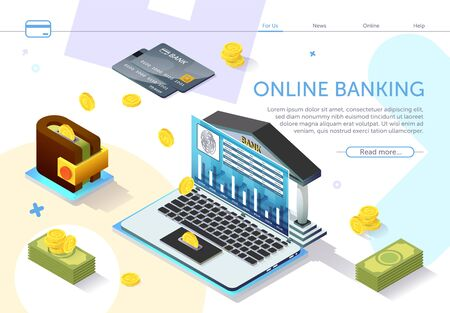 Online Banking on Laptop Monitor Screen. Types Monetary Units. Online Payment System. Internet Service. Modern Technology. Perform Transaction. Payment System on Laptop. Vector Illustration. 일러스트